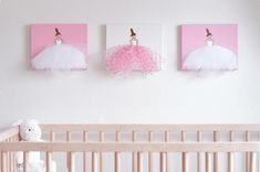 Original Ballerina Artwork (Dressi Divas), acrylic paintings, hand-painted and hand sewn on stretched canvas! Composed of acrylic paint and real tulle. Add a little fun and flare to your little girls room or nursery by this unique ballerina set! They also make a great birthday or baby