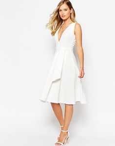 ASOS Midi Dress in Texture with Plunge Neck and Tie Belt