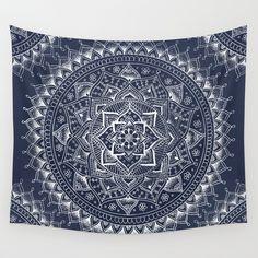 White+Flower+Mandala+on+Dark+Blue+Wall+Tapestry+by+Laurel+Mae+-+$39.00