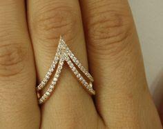 14k Gold Verlobungsring - Verlobungsring - V Form Verlobungsring - zierliche Ring - 14k Gold Ring - doppelte V geformten Ring