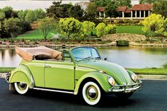 VW Beetle Convertible Green....Re-pin...Brought to you by #CarInsurance at #HouseofInsurance in Eugene, Oregon