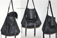 big black tote leather bag oversized crossover by weltfremd
