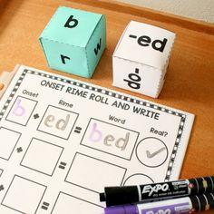 Practice blending onsets and rimes with this free printable roll and write phonics activity for kindergarten and first grade.