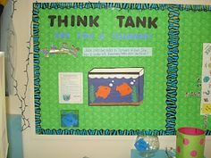 Think Tank...on Monday put a question for the students to answer. They will then write their answer on a fish and staple it to the board. On Fridays go thru the fish and place the ones who correctly answered the questions in the fish bowl. Draw five every couple of weeks and give those students a reward. Works as a great assessment tool to see how the students are doing with various concepts!  Maybe a a trivia contest in the library??