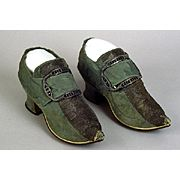 shoes, English  1720-1730; 1740-1760  Clothing textile: green-gray damask weave silk; metallic strip applique; leather