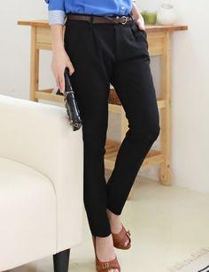Cotton Casual Pants With Belt Black Women Pents S M L XL @A2060b