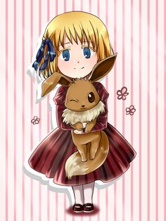 HetaPoke-Liechtenstein+Eevee by FrozenSeashell.deviantart.com on @deviantART - Twenty-second in a series pairing Hetalia characters with Pokémon. The artist has said that they wanted to pair both her and Vash with Eevee and its evolutions - but the latter has not yet been drawn.