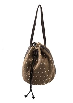 Studded pouch bag made of wool felt & leather in brown. Handmade by Anardeko