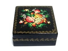 Russian Wooden Box - Handpainted Fedoskino Russian Lacquer Box - Flower Bouquet Ornament, Vintage Jewellery Box, Trinket Box, Palekh Box at VintageArtAndCraft
