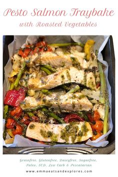 Pesto Salmon Traybake with Roasted Vegetables - Emma Eats & Explores Lunch Recipes, Easy Dinner Recipes, Seafood Recipes, Great Recipes, Breakfast Recipes, Easy Meals, Healthy Recipes, Amazing Recipes, Weeknight Meals
