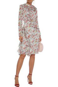 Mikael Aghal Ruffled Floral-print Burnout Crepe De Chine Dress In Ivory Popular Dresses, Dresses For Sale, Dress Sale, White Floral Dress, One Piece Dress, Knee Length Dresses, Boho Dress, Designer Dresses, Dress Outfits