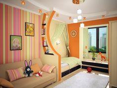 Trennwand Regale Kinderzimmer Orange Gruen Bereiche Aufteilen