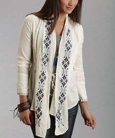 Another great find on #zulily! Cream Embroidered Tie-Front Cardigan - Women by Stetson #zulilyfinds