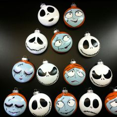 hand painted glass ornaments definitely a good idea for the halloween tree - Halloween Tree Ornaments