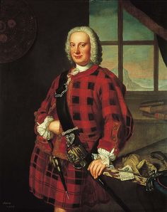John Campbell of the Bank, Banker and businessman, by William Mosman. In this portrait, Campbell wears a tartan kilt and jacket, a revealing choice just 2 years after parliament banned the wearing of Highland dress in Scotland. Scottish Costume, Scottish Dress, Scottish Fashion, Scottish Clothing, Campbell Clan, John Campbell, Scottish Clans, Scottish Tartans, Costumes Outlander