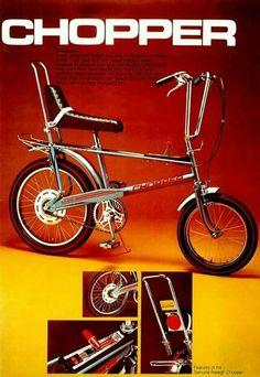 Loved my Chopper! The Genuine Raleigh Chopper. Bicycle Retailer & Industry News - Alan Oakley, Chopper designer, dies at 85 Velo Retro, Velo Vintage, Vintage Bicycles, Vintage Ads, Vintage Style, Vintage Toys 1960s, Retro Bike, Bmx, Childhood Toys