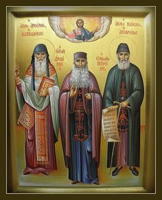 Saint Paisios & Saint Arsenios the Cappadocian and Elder Arsenios of Simonopetra Byzantine Icons, Byzantine Art, Religious Icons, Religious Images, Prophets In Islam, Faith Of Our Fathers, New Saints, Religious Paintings, Orthodox Icons