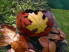 Art Gourd  Bowl Handpainted Gourd Bowl Fall Leaves Harvest PRE ORDER ONLY