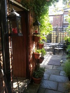Drill some terracotta pots by your back door fill with geraniums and mint for the scent and of course pimms