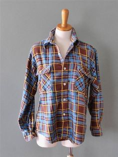 Vtg 70s Loncraft punk Plaid Flannel Shirt Men L grunge cotton Lumberjack F05 #Loncraft #ButtonFront