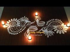 Deepavali Rangavalli muggulu and simple peacock border kolam/ latest Diwali rangolis Rangoli Side Designs, Simple Rangoli Border Designs, Easy Rangoli Designs Diwali, Rangoli Designs Latest, Rangoli Borders, Free Hand Rangoli Design, Small Rangoli Design, Rangoli Ideas, Rangoli Designs With Dots