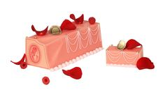 """The """"Marie-Antoinette"""" Christmas Log - Rose-flavoured soft macaron biscuit, rose petals cream, candied raspberry, fresh lychees and raspberries, covered with marzipan and decorated with rose petals."""