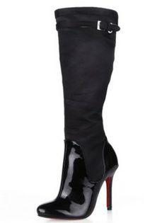 Black pearl paint and emulation silk Belt buckle 4 7/10 High heels Knee High Boots