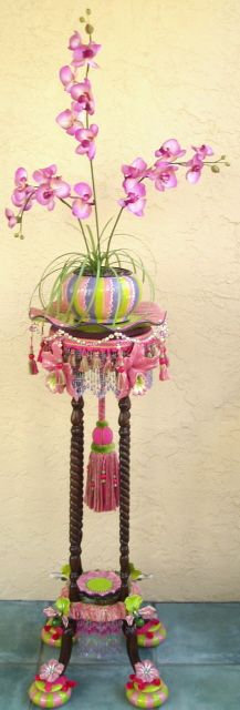 Orchid Plant Stand, plus plant, ceramic orchids & feet with beads, fringes & tassels. Funky Painted Furniture, Painting Furniture, Handmade Furniture, Upcycled Furniture, Unique Furniture, Diy Painting, Diy Furniture, Tall Plant Stands, Painted Side Tables