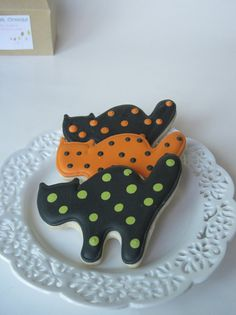 cats cookies~        Spooky Polka Dotted Cats, Expired Etsy listing, Black, Orange, Green