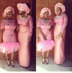 Aso Ebi Styles - Latest Aso Ebi Wedding Styles Lace in Nigeria - Colour Design Gallery for Guys Ladies & Pregnant Ladies - Aso Bella Naija Vol Series Nigerian Bride, Nigerian Lace, Nigerian Weddings, African Lace, African Style, Hello Ladies, Aso Ebi Styles, African Fashion, Nigerian Fashion