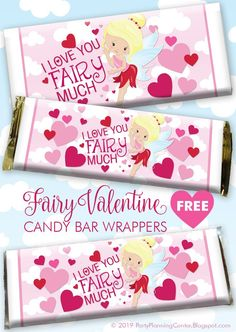 FREE printable fairy Hershey bar wrappers #ValentinesDay #ChocolateWrapper #ValentinePrintable #KidsValentine #HersheyBarWrapper #CarlaChadwick