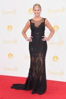 nancy odell illusion neck long black mermaid sheer lace red carpet evening dress