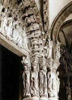 Santiago de Compostela (1078-1128) - Portico de la Gloria, particolari Romanesque Art, Romanesque Architecture, Sacred Architecture, Religious Architecture, Catholic Religion, Early Middle Ages, Renaissance Paintings, Boho Bedroom Decor, Medieval Art
