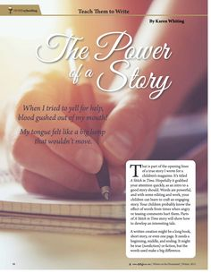 Article in Molly Green by Karen Whiting to help students learn to write.
