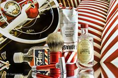 Proraso sandalwood shave cream, Merkur badger brush and safety razor, Fine American blend aftershave, Antica Barbieria Colla aftershave balm, May 9, 2015.  © Sarimento1