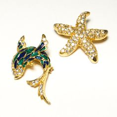 Vintage Set of Scatter Pins Enamel Jumping Koi Fish and Rhinestone Covered Starfish Lovely Summer Set