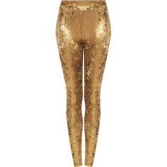 TOPSHOP Petite Gold Foil Velvet Leggings ($30) ❤ liked on Polyvore featuring pants, leggings, trousers, bottoms, gold, petite, legging pants, brown velvet pants, petite trousers and brown trousers