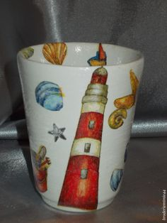 Collage serviette papier & brillant - Phare - Pot Diam7.5cm - Décoration -. Blog : http://broderiemimie44.canalblog.com/