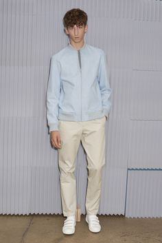 Pastel blue bomber | A.P.C. Spring 2016 Menswear - Collection - Gallery - Style.com