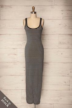 Lübeck Kontrast - Black and white striped sleeveless maxi dress