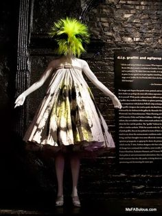 Alexander McQueen spraypainted graffiti dress at the Metropolitan Museum of Art's Punk: Chaos to Couture exhibit (photo by Mariana Leung)