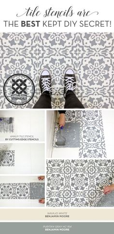 Cutting Edge Stencils shares how to makeover a ceramic tile floor using the Amalfi Tile Stencil in Benjamin Moore Puritan Gray. http://www.cuttingedgestencils.com/amalfi-tile-stencil-Cement-tiles-stenciled-floor-backsplash.html