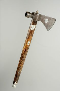 Iroquois silver inlaid tomahawk, used both as a weapon and as a tool. The