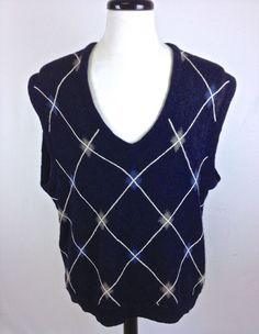 CALLAWAY Sweater ALPACA Navy BLUE Sleeveless ARGYLE Print KNIT Mens LAYERS XL - Sweaters