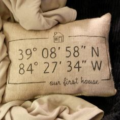 Personalized Map Coordinates Burlap Pillow - our first house - by ktboundary24