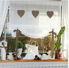 kitchen curtains and curtains Burlap Curtains, Curtains With Blinds, Valance Curtains, Porch Valance, Short Curtains, Valances, Shabby Chic Kitchen, Shabby Chic Decor, Shabby Chic Curtains