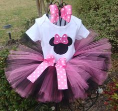 Hot Pink Minnie Tutu Set  Includes by Glambugboutique on Etsy, $35.00