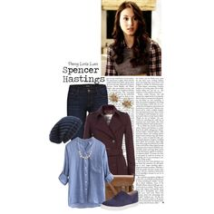 Spencer Hastings by charlizard on Polyvore featuring moda, Burberry, J Brand, Kate Spade, The Cambridge Satchel Company, J.Crew, Madewell, Phase 3, PrettyLittleLiars and pll