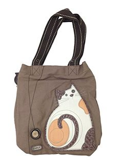 09c3394c8e Chala Handbag Simple Tote LAZZY CAT Brown Purse Bag Canvas Large Chala  http
