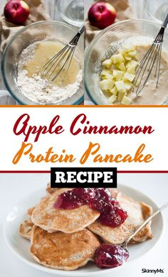 You have to try these insanely delish Apple Cinnamon Protein Pancakes! #breakfast #recipe #pancakes